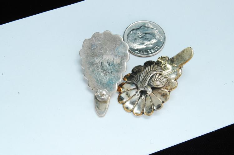 Lot 119: Vintage 11g Sterling Signed NT Eagle Post Earrings