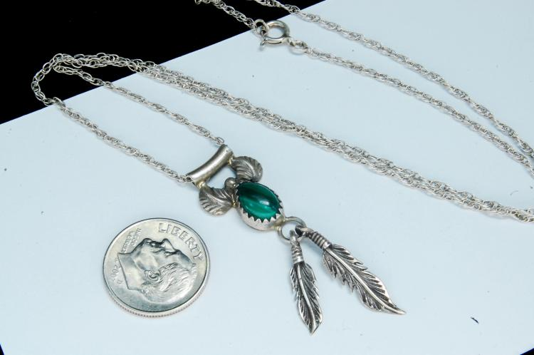 Lot 120: Vintage Sterling Malachite Feather Necklace
