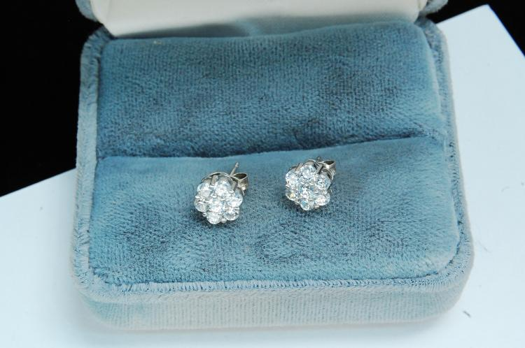 Modern Sterling CZ Ladies Post Earrings