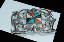 Lot 126: 69g Sterling Zuni Sand Cast Inlaid Signed Buckle
