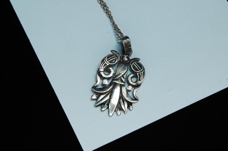 Lot 131: Vintage Sterling Silver Fertility Symbol Necklace