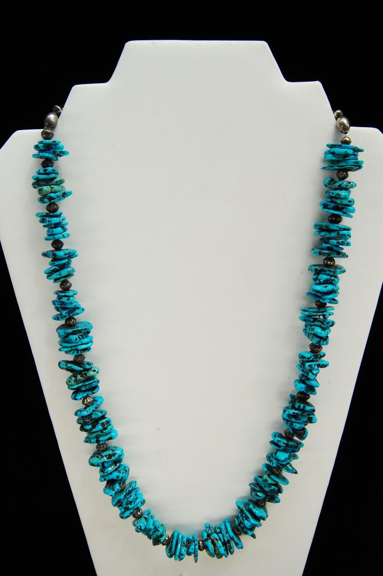 Vintage Sterling Kingman Mine Turquoise Necklace