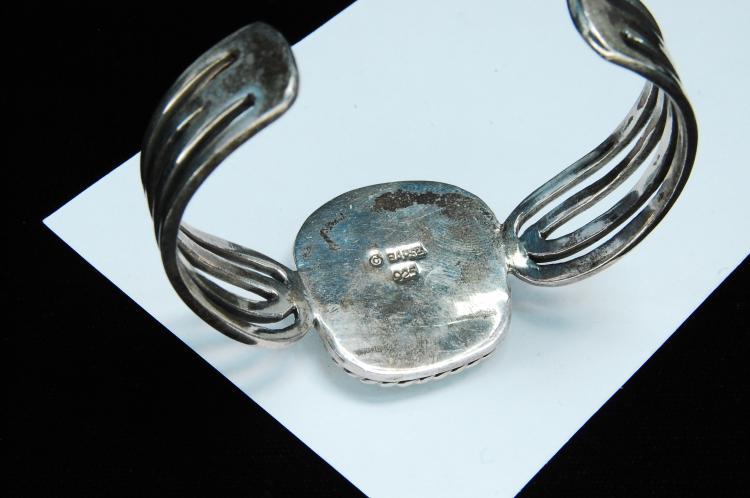 Lot 134: 46g Sterling Turquoise Signed Barse Bracelet