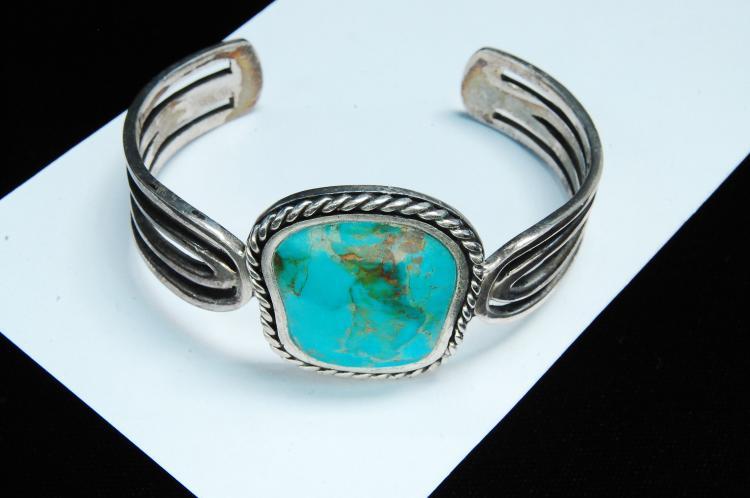 46g Sterling Turquoise Signed Barse Bracelet