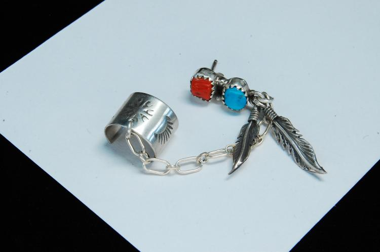 Sterling Turquoise Coral Signed RB Post Ear Cuff