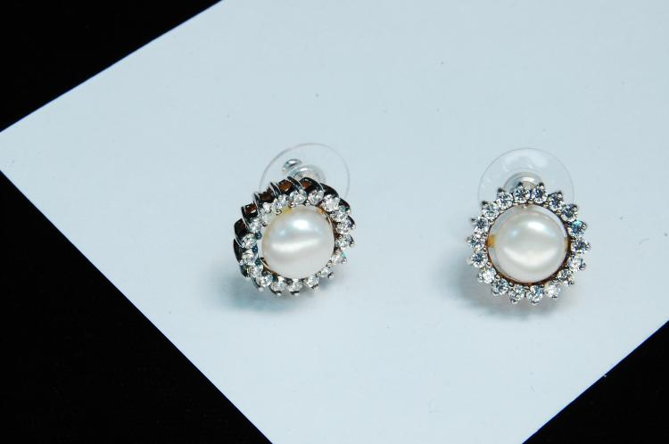 Modern Sterling Silver Pearl CZ Post Earrings