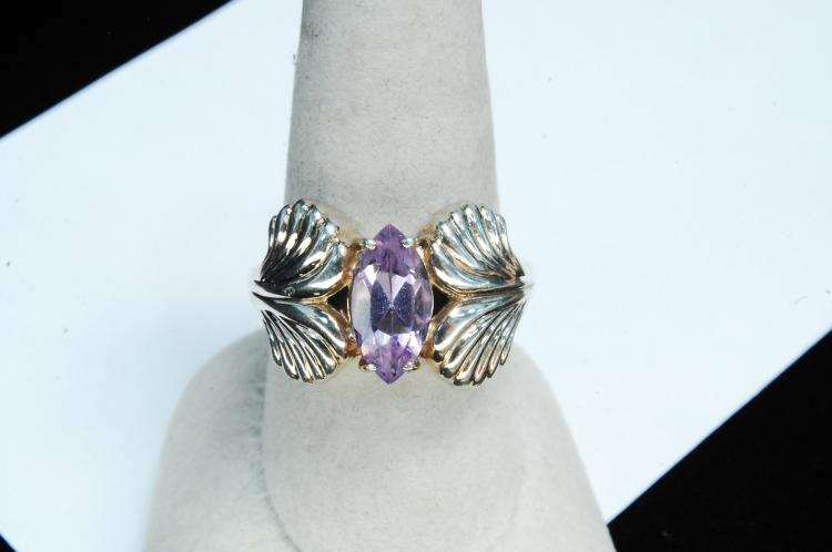 Lot 139: Modern 7.7g Sterling Silver Amethyst Ring Size 9