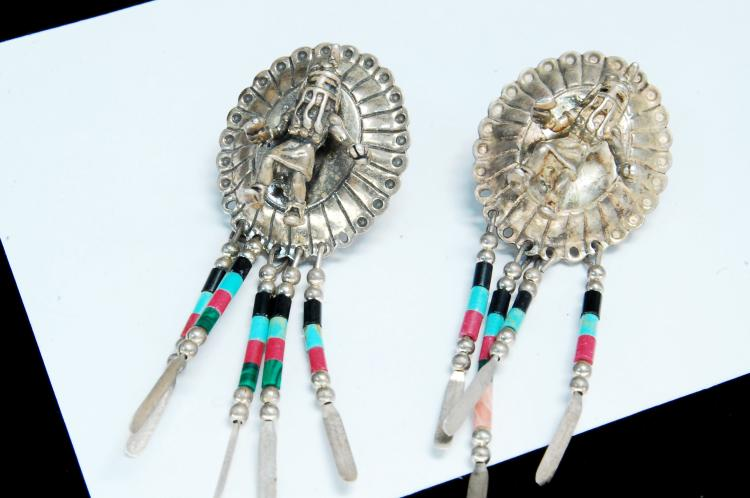 11g Sterling Silver Kachina Navajo Post Earrings