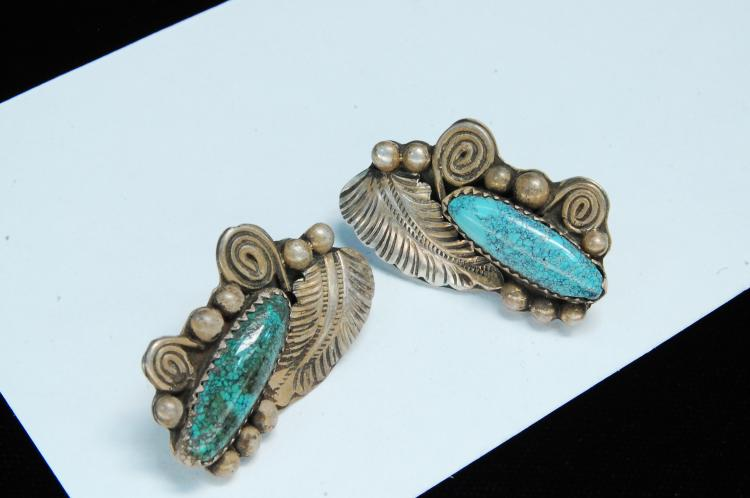 Vintage 13g Sterling Turquoise Navajo Earrings