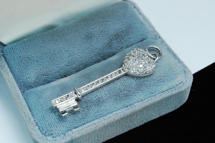 Modern Sterling Silver CZ Key Pendant