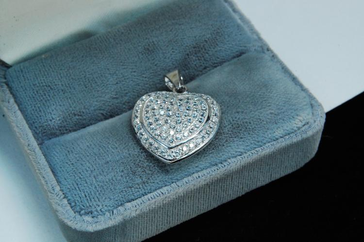 Lot 150: Modern Sterling Silver CZ Ladies Heart Pendant