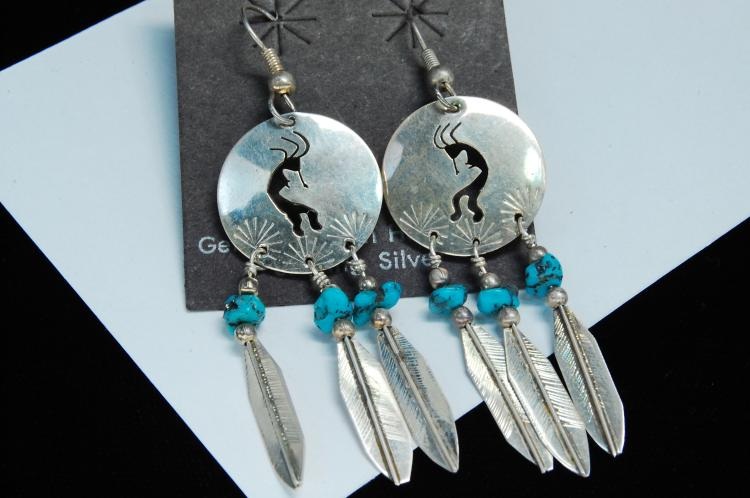 Sterling Turquoise Signed Sam Kokopelli Earrings