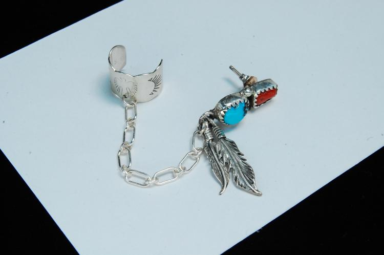 Lot 153: Sterling Turquoise Coral Signed RB Post Ear Cuff
