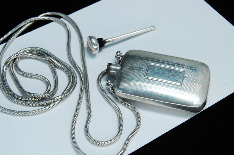 Lot 154: Antique 26g Sterling Perfume Flask Necklace