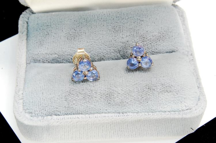 Sterling Silver Iolite Ladies Post Earrings