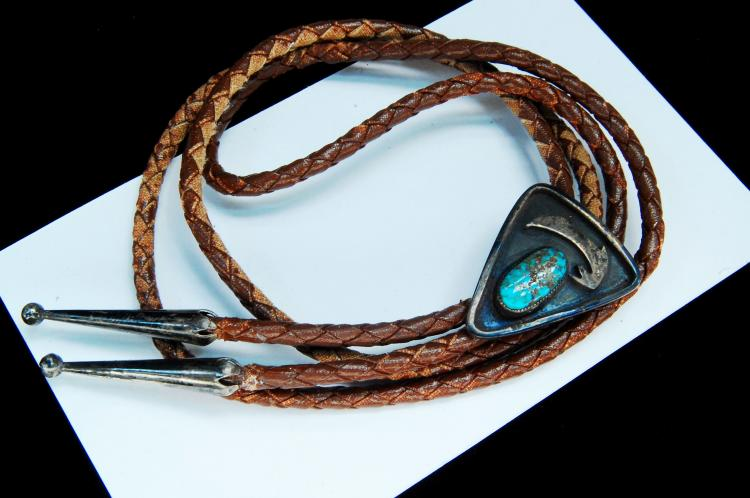 Sterling Turquoise Old Pawn Navajo Bolo Tie