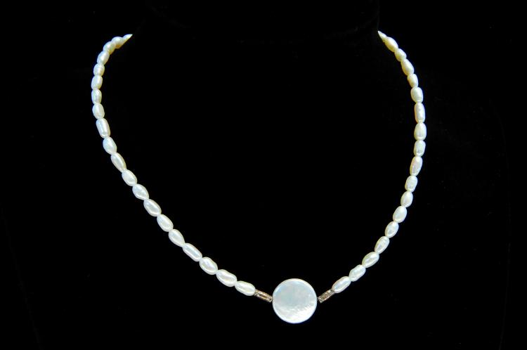 Lot 166: Sterling Freshwater Pearl Strand Necklace