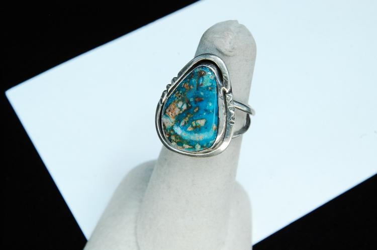 Vintage 6.5g Sterling Turquoise Navajo Ring Sz 6