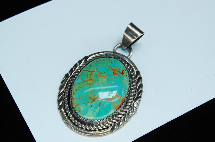 16g Sterling Turquoise Navajo Signed W Pendant