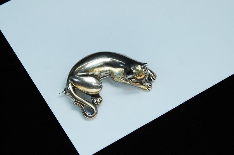Vintage 9.3g Sterling Silver Cat Brooch