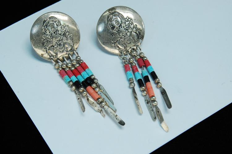 Lot 171: Vintage Sterling Silver Storyteller Post Earrings
