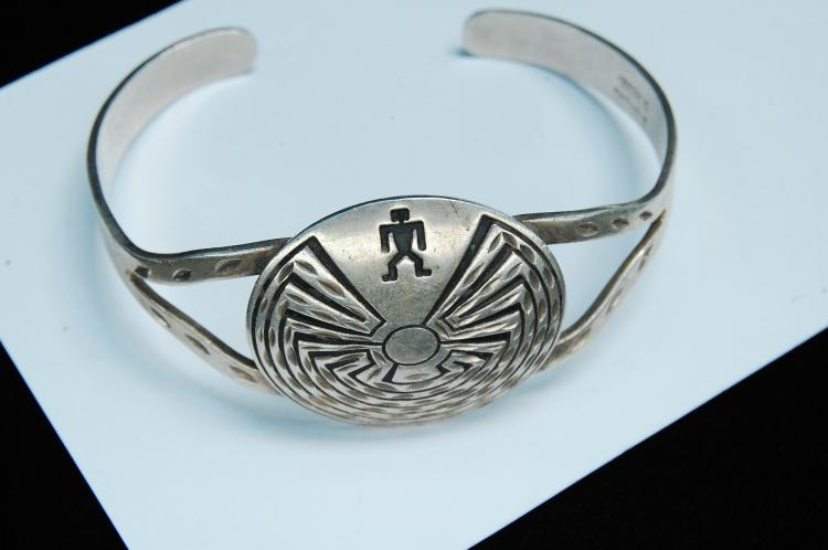 Vintage Sterling Signed B Webb Maze Cuff Bracelet