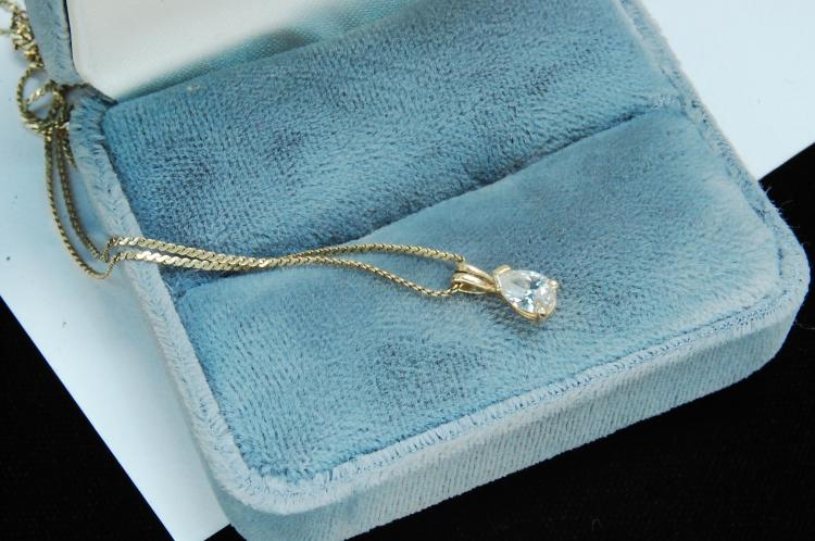 2.2g 14K Gold CZ Drop Pendant Necklace