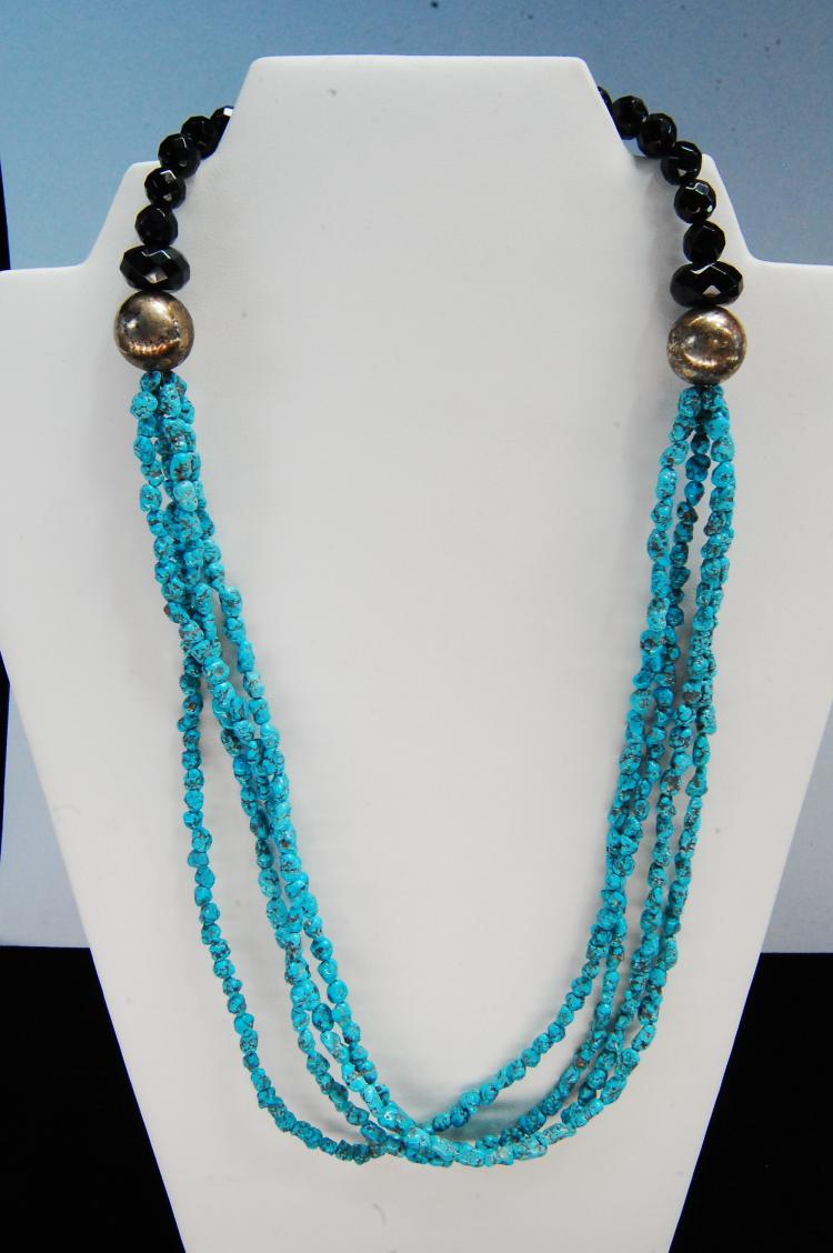 Turquoise Nugget Bead Multi-Strand Necklace