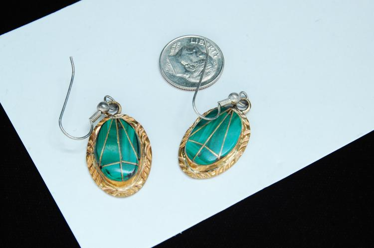 Vintage 8g Sterling Malachite Signed W Earrings