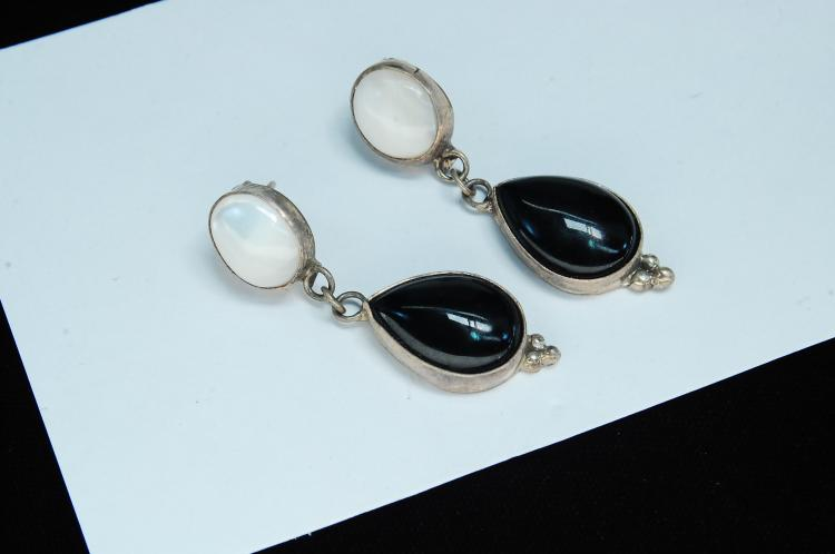 10.3g Sterling Jet MOP Dangle Signed RB Earrings