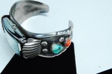Lot 186: 45g Sterling Turquoise Coral Signed CN Bracelet