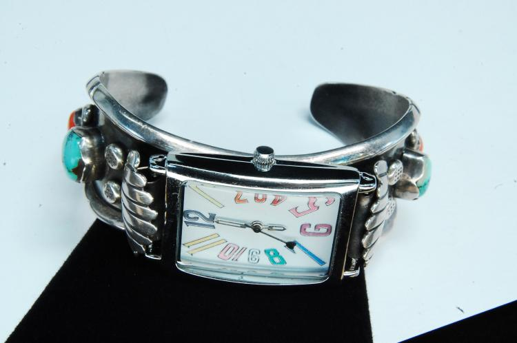 45g Sterling Turquoise Coral Signed CN Bracelet