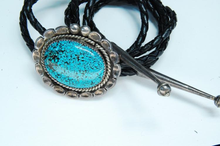 Sterling Lander Blue Turquoise Navajo Bolo Tie