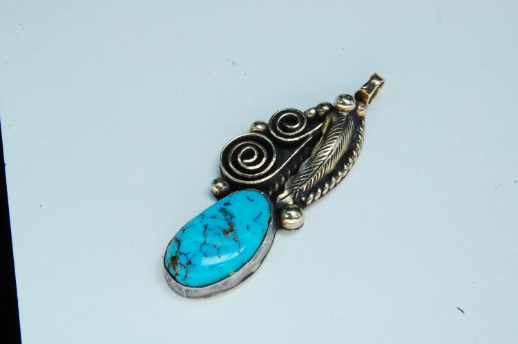 10g Sterling Turquoise Navajo Ed Kee Pendant