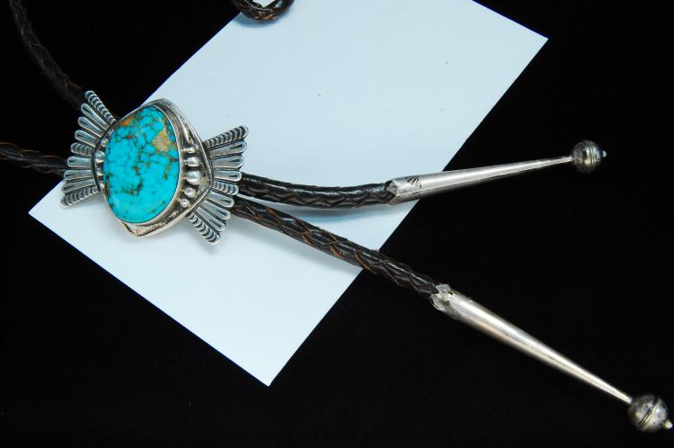 Lot 194: Sterling #8 Mine Turquoise Navajo Bolo Tie