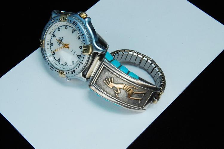 Lot 195: Sterling 14K Gold Signed Leonard Jim Watch Tip