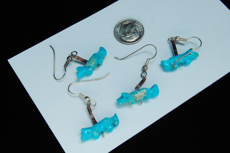 Lot 114: Sterling Carved Turquoise Fox Fetish Earrings Lot