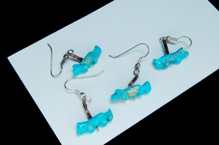 Sterling Carved Turquoise Fox Fetish Earrings Lot