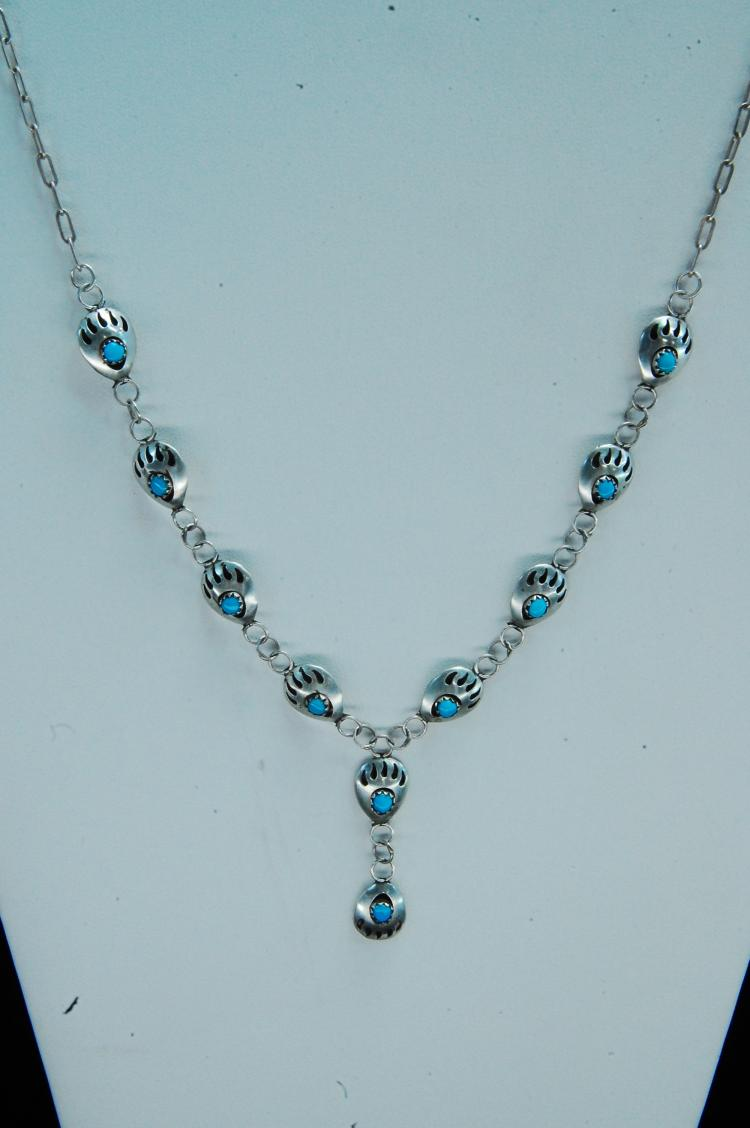 Lot 101: 9g Sterling Turquoise Bear Paw Shadowbox Necklace