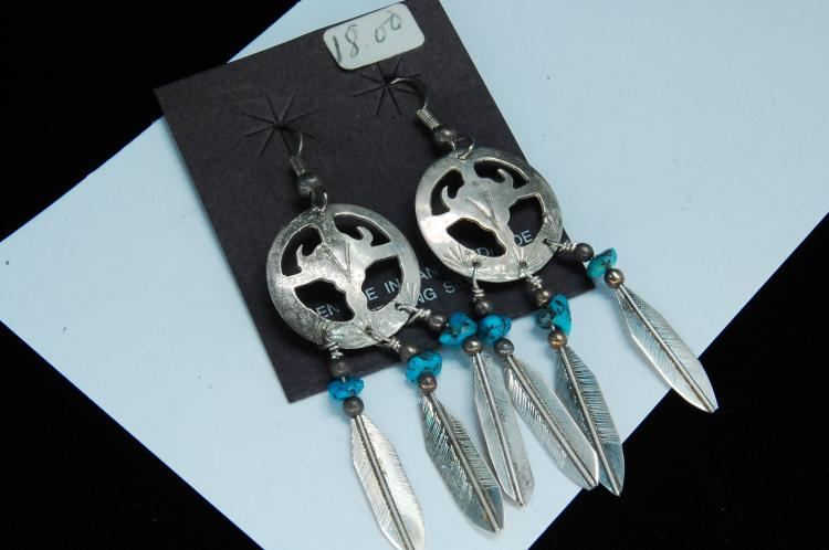 Vintage Sterling Turquoise Signed Sam Earrings