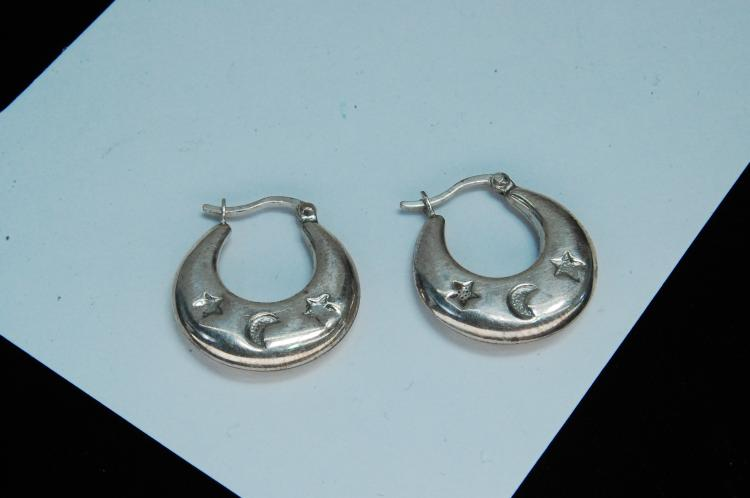 Lot 103: Vintage Sterling Moon & Stars Ladies Hoop Earrings