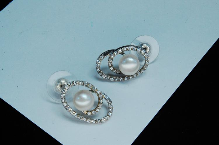 Modern Sterling Pearl CZ Ladies Post Earrings