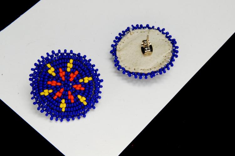 Lot 106: Seed Bead Rosette Ladies Post Earrings