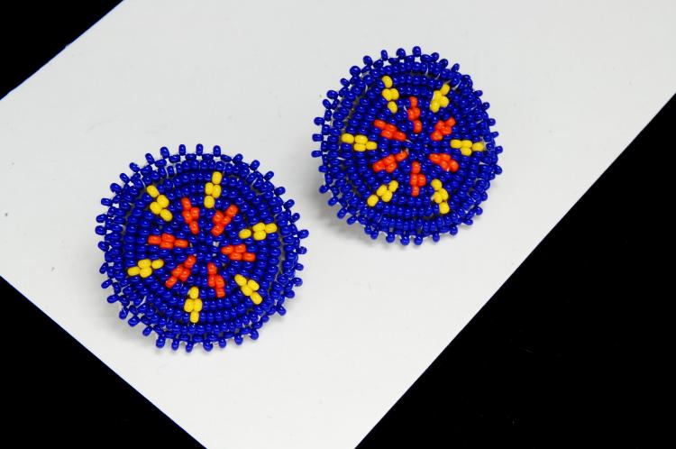 Seed Bead Rosette Ladies Post Earrings