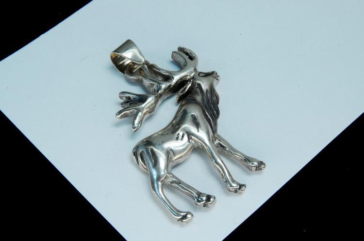 Vintage 13g Sterling Silver Elk Pendant