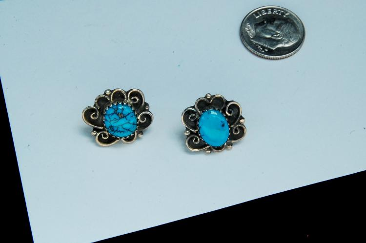 Vintage Sterling Turquoise Navajo Post Earrings