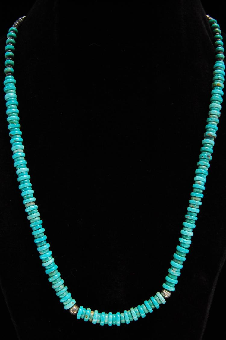 Vintage Sterling Turquoise Heishi Beaded Necklace