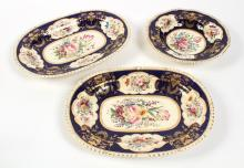 THREE DERBY PORCELAIN SERVING DISHES - All with heavily stapled repairs