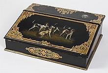 ENGLISH BLACK LACQUER LAP DESK OR WRITING BOX - Slant front panel has original painting of hunting dogs on a matte black ground, wit...