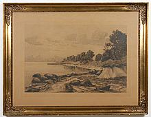 AXEL HOLME SIGNED ENGRAVING ON PAPER - Engraving of a coastal scene with trees, rocks, and small boats in the distance. Pencil signe...